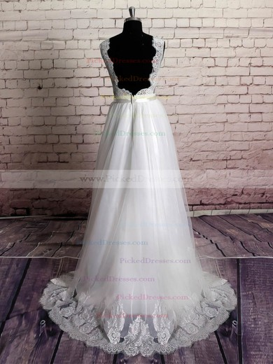 Princess Sweep Train Organza with Appliques Lace Open Back V-neck Wedding Dresses #PDS00021229