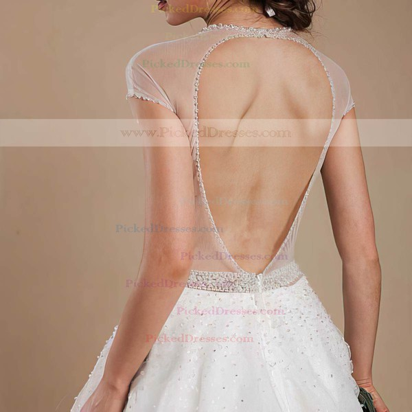 Fashion Scoop Neck Open Back Pearl Detailing Ball Gown Tulle Wedding Dresses #PDS00021368