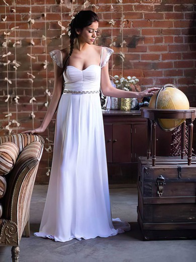 Sweetheart White Chiffon Cap Straps Sashes/Ribbons Affordable Wedding Dress #PDS00021369