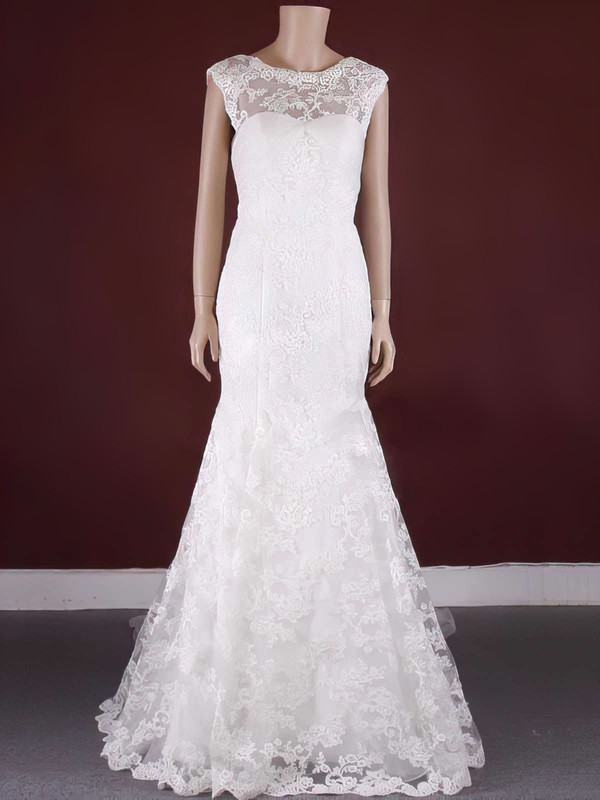 Watteau Train Lace Scoop Neck Appliques Lace Trumpet/Mermaid Elegant Wedding Dress #PDS00021371