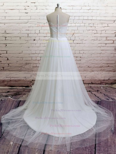Great Sweep Train White Tulle Appliques Lace V-neck Wedding Dresses #PDS00021372