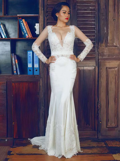 Ivory Lace Elastic Woven Satin Long Sleeve Beading Trumpet/Mermaid Wedding Dress #PDS00021375