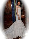 Long Sleeve Scoop Neck Tulle Beading Lace-up Chapel Train Wedding Dresses #PDS00021378