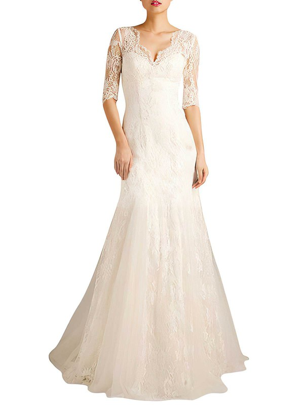Nice Sweep Train 1/2 Sleeve Trumpet/Mermaid Lace-up Ivory Lace Wedding Dresses #PDS00021379
