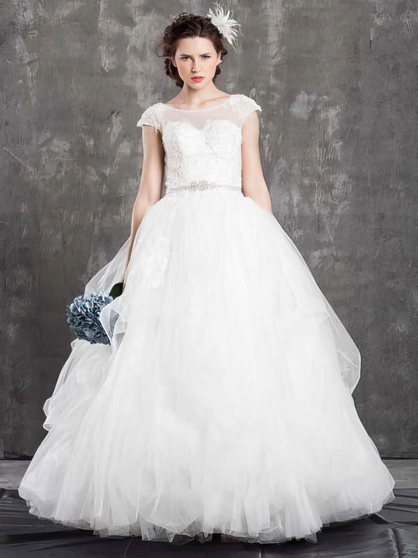 Newest Ball Gown Tulle Appliques Lace Scoop Neck Wedding Dress #PDS00021381