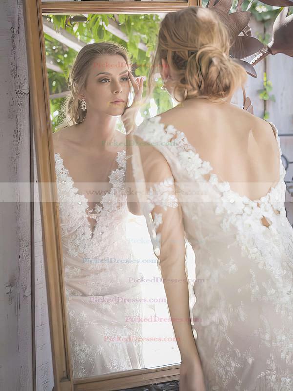 Lace Tulle V-neck Beading 1/2 Sleeve Chapel Train Wedding Dresses #PDS00021382