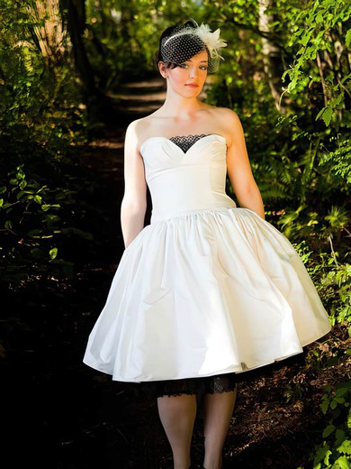 Ball Gown Ivory Lace Taffeta Ruffles Tea-length Strapless Wedding Dress #PDS00021385