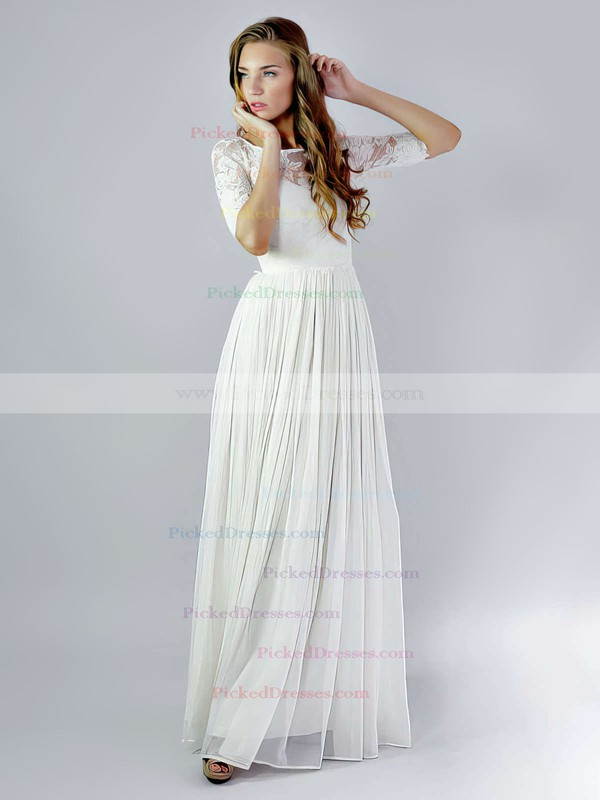 Exclusive Scoop Neck Ivory Chiffon Lace Ruffles 1/2 Sleeve Wedding Dresses #PDS00021392