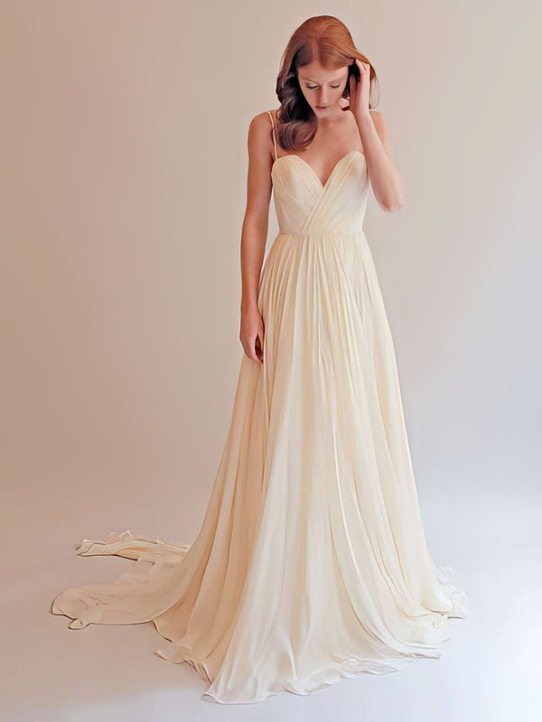 Sweetheart Ivory Chiffon Ruffles with Spaghetti Straps Backless Wedding Dress #PDS00021393