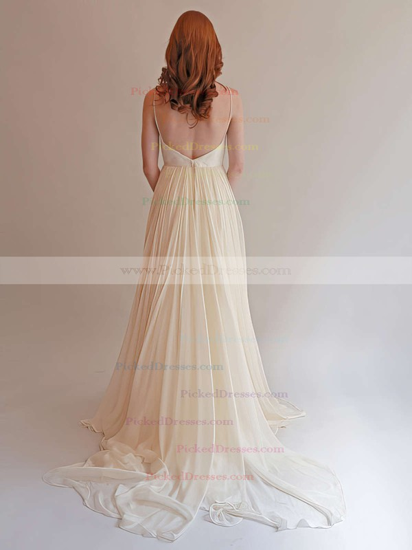 Sweetheart Ivory Chiffon Ruffles with Spaghetti Straps Backless Wedding Dress #PDS00021393