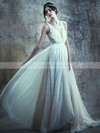 Ivory Chiffon Lace Scoop Neck with Buttons Promotion Wedding Dresses #PDS00021395