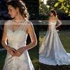 Modest V-neck Ivory Satin Tulle Lace with Beading Chapel Train Wedding Dress #PDS00021397