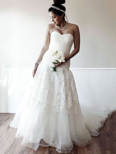 Ivory Tulle Sweetheart Appliques Lace Lace-up Chapel Train Wedding Dress #PDS00021400