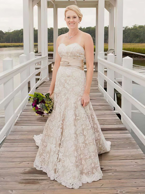 Champagne Lace with Sashes/Ribbons Watteau Train Fashion Wedding Dresses
