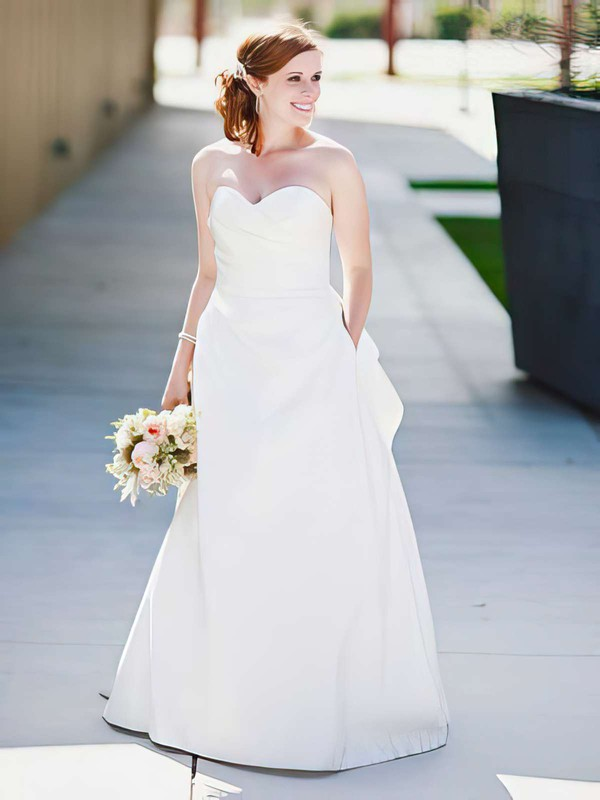 A-line Sweetheart White Ruffles Satin Newest Wedding Dress