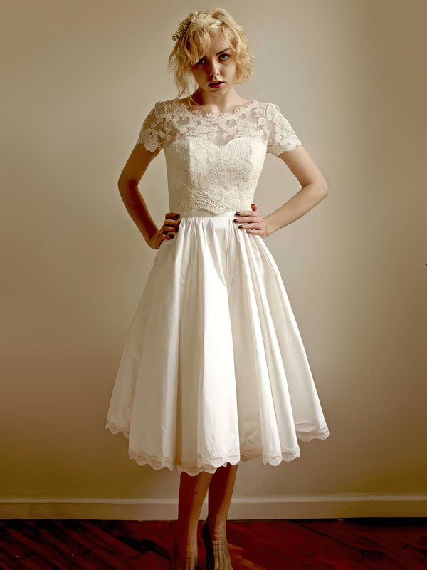 Classy Ivory Taffeta Lace Tea-length Short Sleeve Wedding Dress #PDS00021407