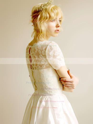 Classy Ivory Taffeta Lace Tea-length Short Sleeve Wedding Dress #PDS00021407