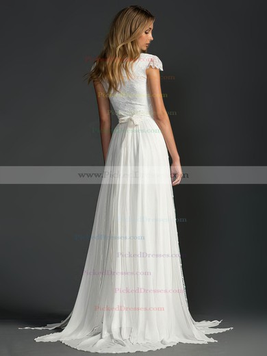 Sweep Train Beading Cap Straps Scoop Neck Ivory Lace Chiffon Wedding Dress #PDS00021410