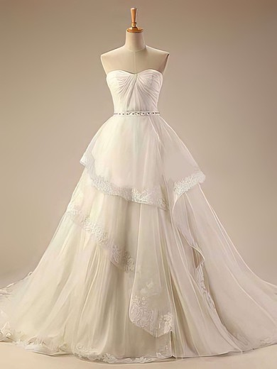 Sweetheart Ivory Tulle Appliques Lace Chapel Train Fashion Wedding Dresses #PDS00021414