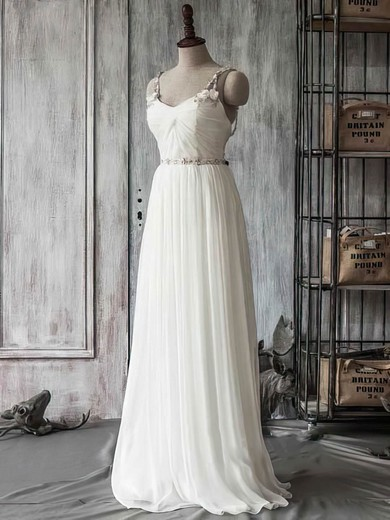 Sweetheart Ivory Chiffon Tulle and Beading Straps Coolest Wedding Dress #PDS00021415