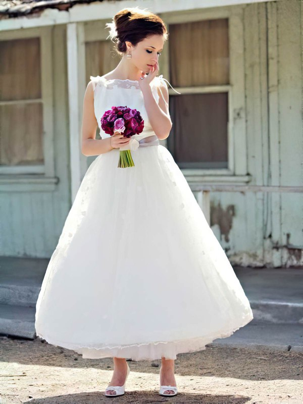 Elegant White Lace with Sashes/Ribbons Ball Gown Ankle-length Wedding Dress #PDS00021241