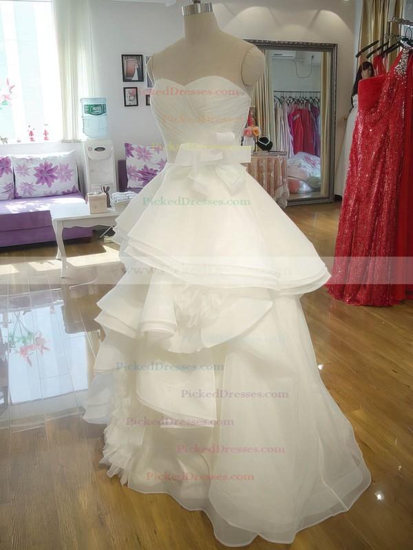 Princess Ivory Organza Cascading Ruffles Lace-up Sweetheart Wedding Dress #PDS00021242