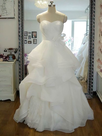 Princess Ivory Organza Cascading Ruffles Lace-up Sweetheart Wedding Dress #PDS00021242