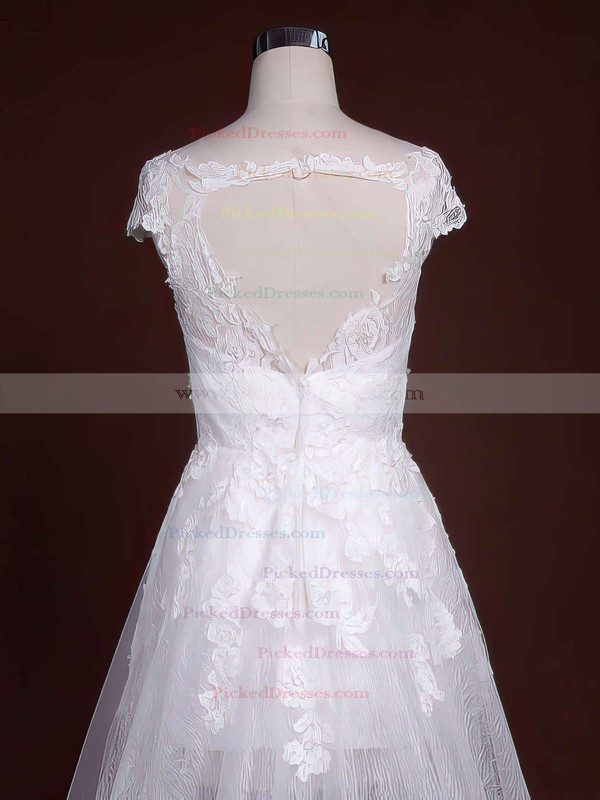 Newest Court Train Cap Straps Tulle with Appliques Lace Scoop Neck Wedding Dresses #PDS00021244
