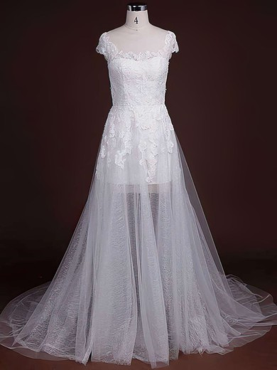 Newest Court Train Cap Straps Tulle with Appliques Lace Scoop Neck Wedding Dresses #PDS00021244