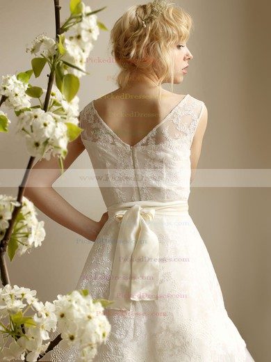 Discounted Ivory Lace Tulle with Cascading Ruffles Tea-length Wedding Dress #PDS00021253