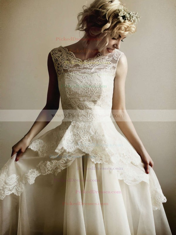 Ivory Lace Organza and V-neck Floor-length Perfect Wedding Dresses #PDS00021254