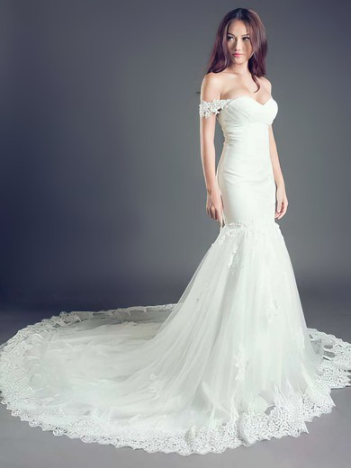 Trumpet/Mermaid White Lace Tulle with Lace-up Off-the-shoulder Wedding Dress #PDS00021260