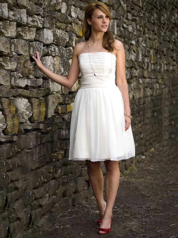 Cute Strapless Pleats White Chiffon Short/Mini Wedding Dresses #PDS00021264