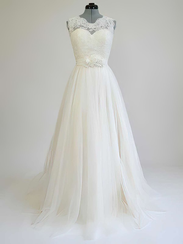 Affordable Sweep Train A-line Sashes / Ribbons Scoop Neck Lace Tulle Wedding Dress #PDS00021269