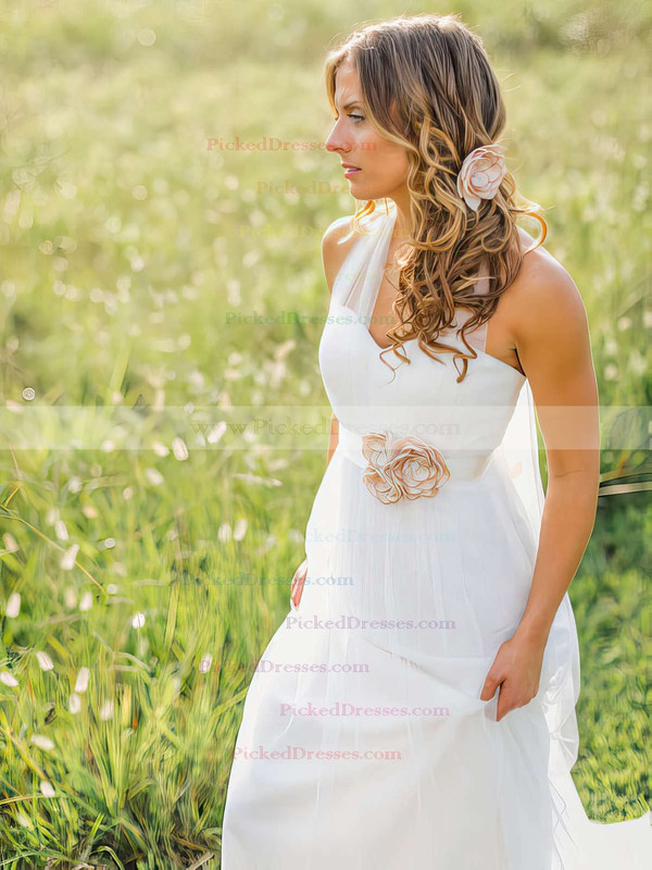 Summer Halter Sashes / Ribbons Sweep Train White Tulle Wedding Dress #PDS00021270