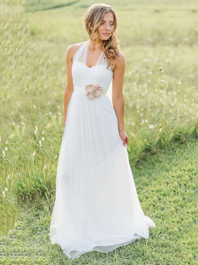 Summer Halter Sashes / Ribbons Sweep Train White Tulle Wedding Dress #PDS00021270