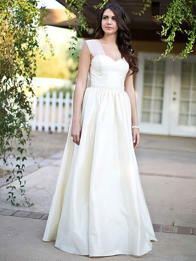 Princess Ivory Taffeta Sweetheart with Bow Affordable Wedding Dresses #PDS00021279