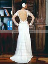 White Tulle Appliques Lace Open Back Trumpet/Mermaid Long Sleeve Wedding Dress #PDS00021282