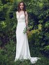 Long Sleeve White Scoop Neck Chiffon Lace Sheath/Column Classy Wedding Dresses #PDS00021297