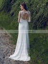 Long Sleeve White Scoop Neck Chiffon Lace Sheath/Column Classy Wedding Dresses #PDS00021297