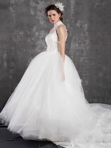 White Tulle Appliques Lace and Feathers Ball Gown High Neck Wedding Dresses #PDS00021299