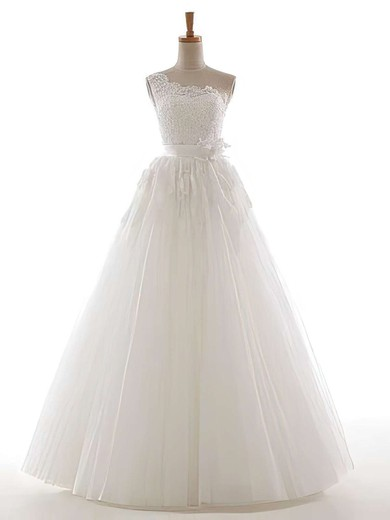 One Shoulder Appliques Lace Sequins Lace-up Tulle Ball Gown Wedding Dress #PDS00021305