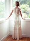 Different Scoop Neck Ivory Chiffon Lace Sashes/Ribbons Cap Straps Wedding Dresses #PDS00021315