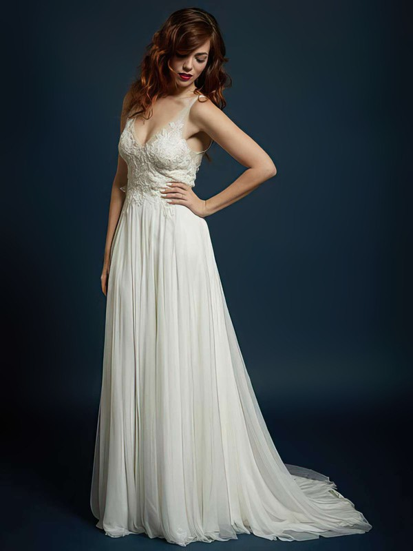Good Ivory Chiffon with Appliques Lace V-neck Open Back Wedding Dress #PDS00021327