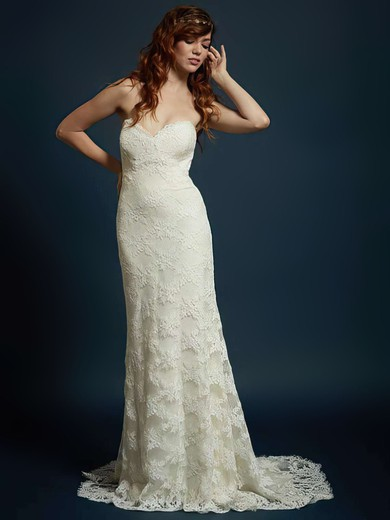 Great Sweetheart Ivory Lace with Buttons Trumpet/Mermaid Wedding Dress #PDS00021328
