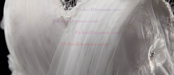 Amazing Ball Gown Tulle Appliques Lace Lace-up White V-neck Wedding Dresses #PDS00021329