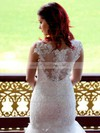 Chapel Train White Lace Covered Buttons Trumpet/Mermaid Latest Wedding Dresses #PDS00021340