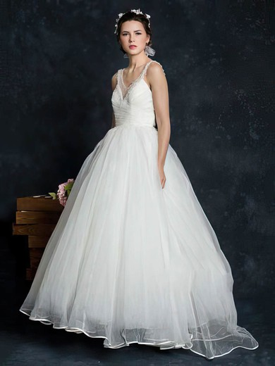 Ivory Tulle Court Train V-neck Pearl Detailing Ball Gown Latest Wedding Dress #PDS00021345