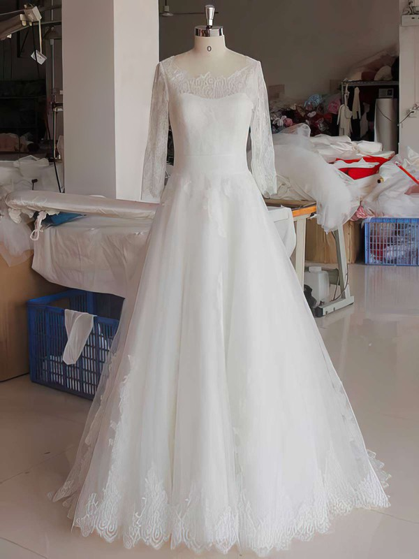 Perfect White Scoop Neck Lace Tulle 3/4 Sleeve Ball Gown Wedding Dress #PDS00021346