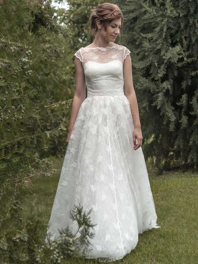 Ivory Lace with Sashes/Ribbons Cap Straps Scoop Neck Hot Wedding Dresses #PDS00021349